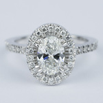 Petite Halo 1.02 Carat Oval Diamond Engagement Ring - small