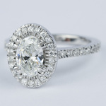 Petite Halo 1.02 Carat Oval Diamond Engagement Ring - small angle 2