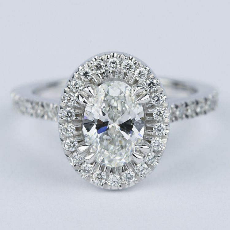 Petite Halo 1.02 Carat Oval Diamond Engagement Ring