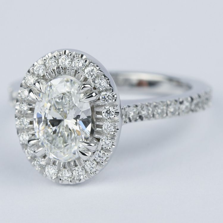 Petite Halo 1.02 Carat Oval Diamond Engagement Ring angle 2