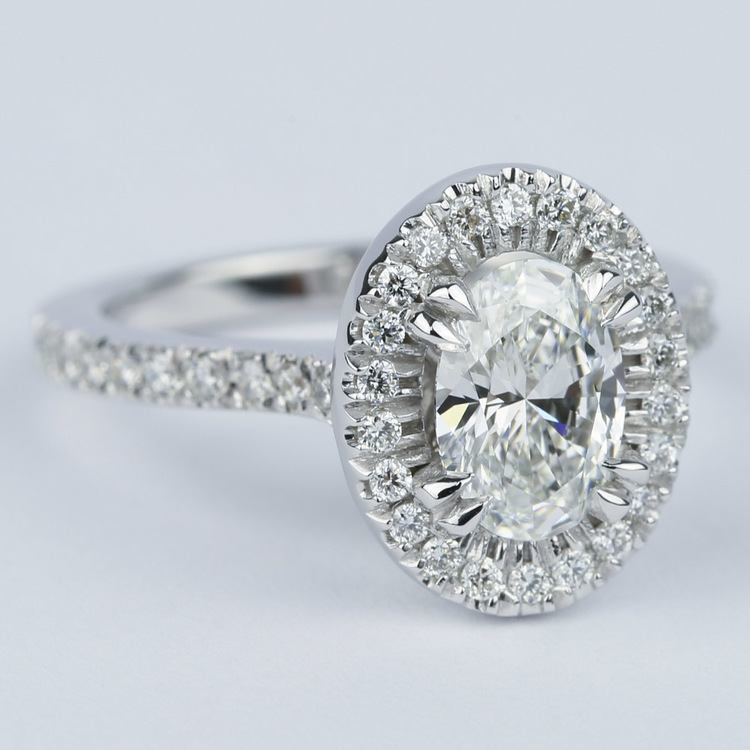 Petite Halo 1.02 Carat Oval Diamond Engagement Ring angle 3