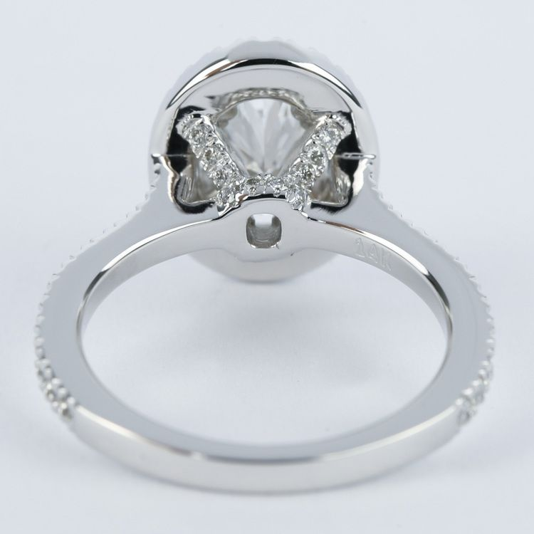 Petite Halo 1.02 Carat Oval Diamond Engagement Ring angle 4
