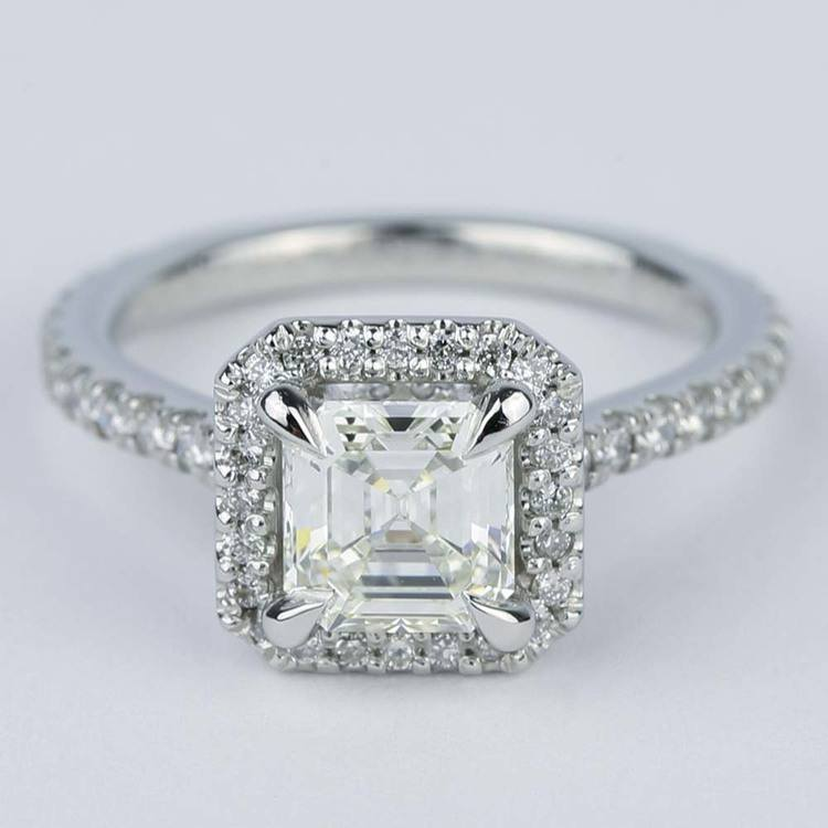 Asscher Diamond Petite Halo Engagement Ring (1.15 ct.)