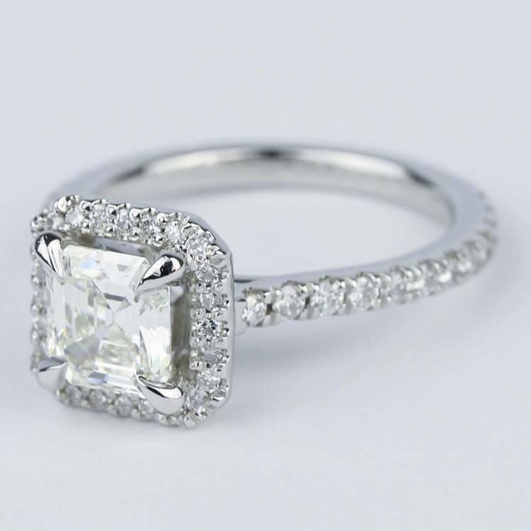 Asscher Diamond Petite Halo Engagement Ring (1.15 ct.) angle 2