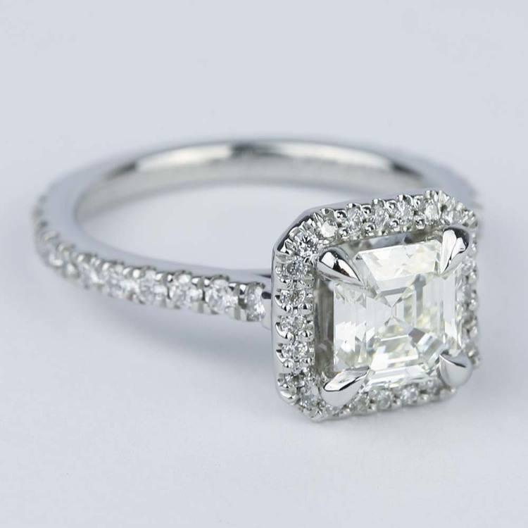 Asscher Diamond Petite Halo Engagement Ring (1.15 ct.) angle 3