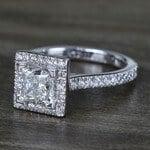 Square Halo Princess Diamond Engagement Ring (1.50 Carat) - small angle 2