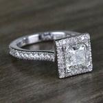 Square Halo Princess Diamond Engagement Ring (1.50 Carat) - small angle 3