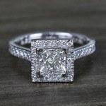 Square Halo Princess Diamond Engagement Ring (1.50 Carat) - small