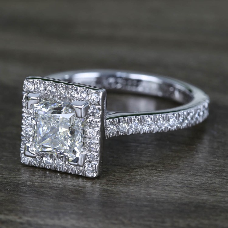 Square Halo Princess Diamond Engagement Ring (1.50 Carat) angle 2