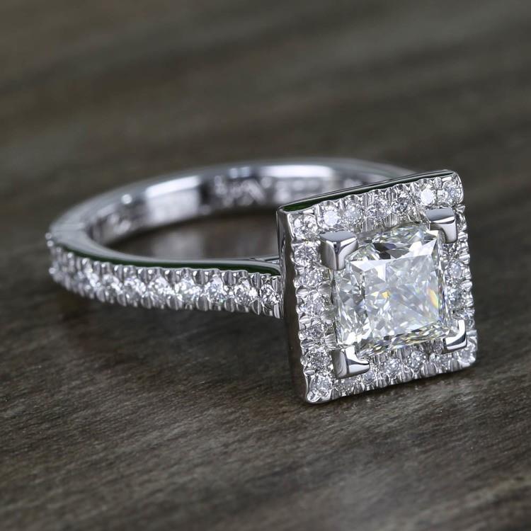 Square Halo Princess Diamond Engagement Ring (1.50 Carat) angle 3