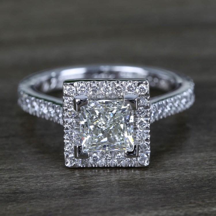 Square Halo Princess Diamond Engagement Ring (1.50 Carat)