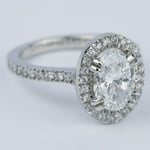 Petite Halo Engagement Ring with Oval Diamond (1.94 ct.) - small angle 3