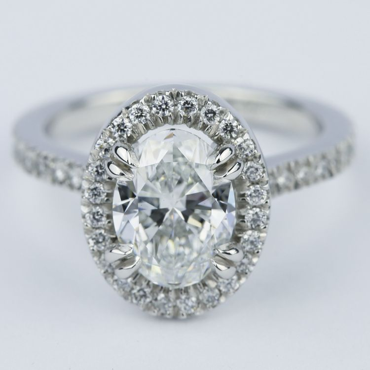 Petite Halo Engagement Ring with Oval Diamond (1.94 ct.)