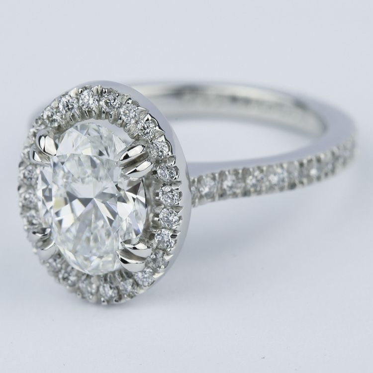 Petite Halo Engagement Ring with Oval Diamond (1.94 ct.) angle 2