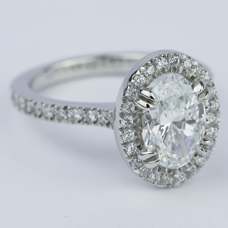 Petite Halo Engagement Ring with Oval Diamond (1.94 ct.) angle 3