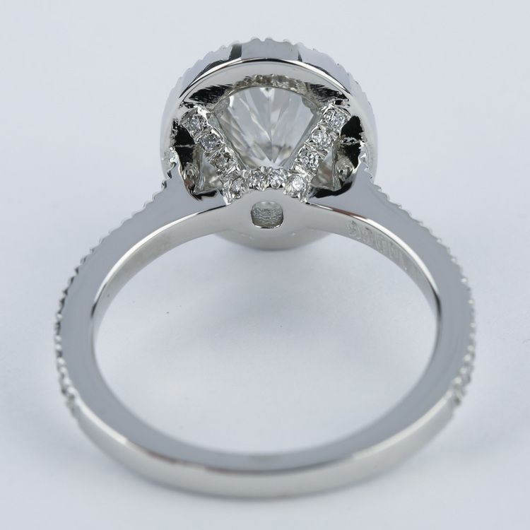 Petite Halo Engagement Ring with Oval Diamond (1.94 ct.) angle 4