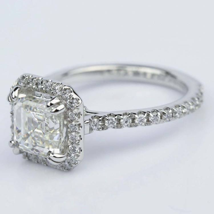 Petite Halo 2.00 Carat Asscher Diamond Engagement Ring angle 2