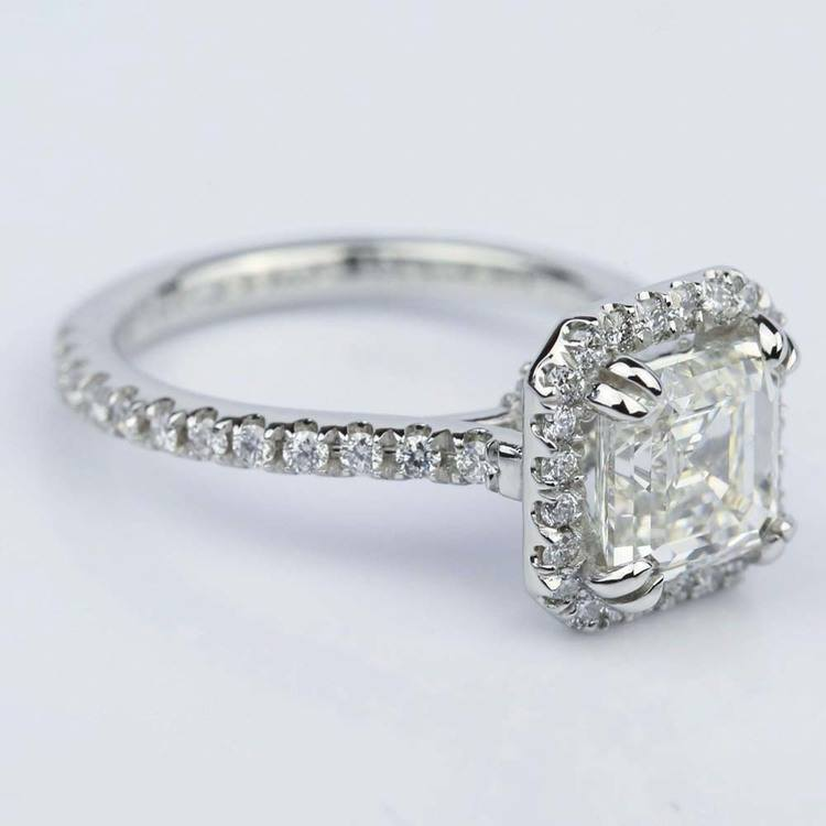 Petite Halo 2.00 Carat Asscher Diamond Engagement Ring angle 3