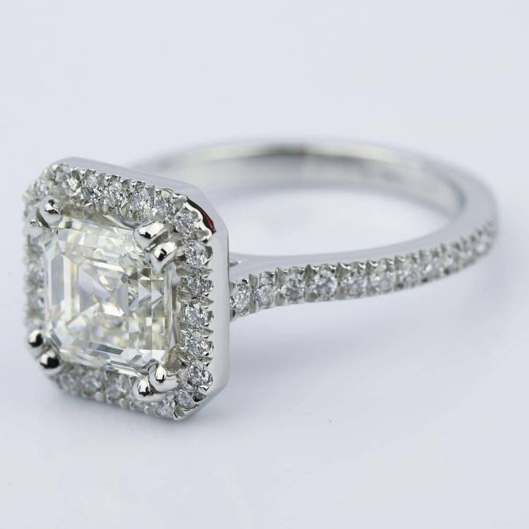 Petite Halo 2.51 Carat Asscher Diamond Engagement Ring angle 2