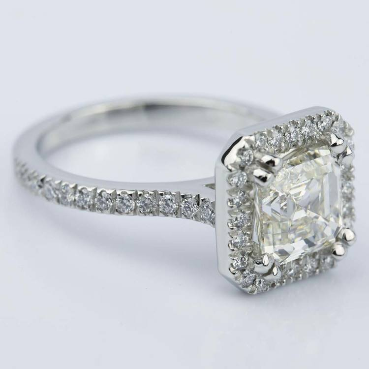Petite Halo 2.51 Carat Asscher Diamond Engagement Ring angle 3