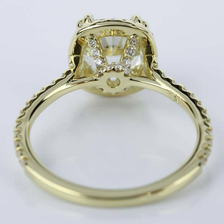 Petite Halo Cushion Diamond Engagement Ring in Yellow Gold (2.47 ct.) angle 4