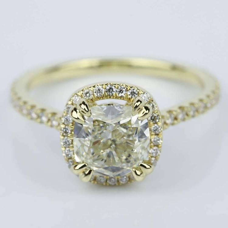 Petite Halo Cushion Diamond Engagement Ring in Yellow Gold (2.47 ct.)