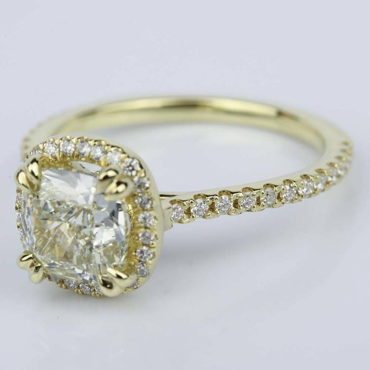 Petite Halo Cushion Diamond Engagement Ring in Yellow Gold (2.47 ct.) angle 2
