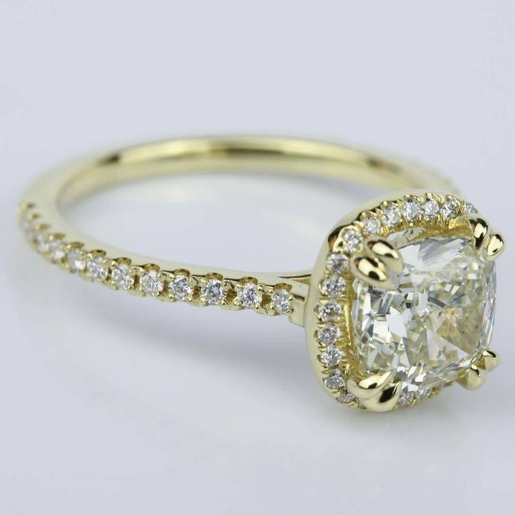 Petite Halo Cushion Diamond Engagement Ring in Yellow Gold (2.47 ct.) angle 3
