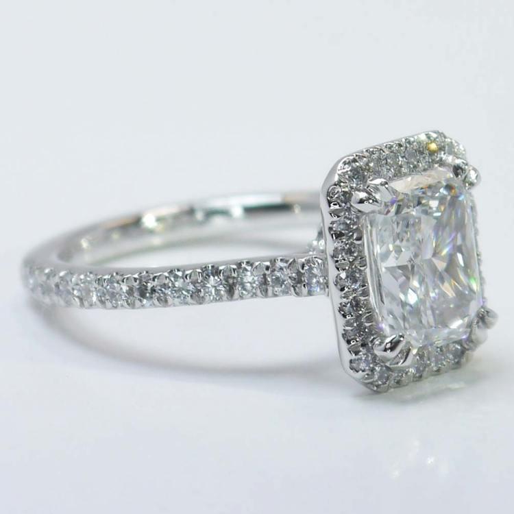 2 Carat Radiant Diamond with Petite Halo Ring angle 2