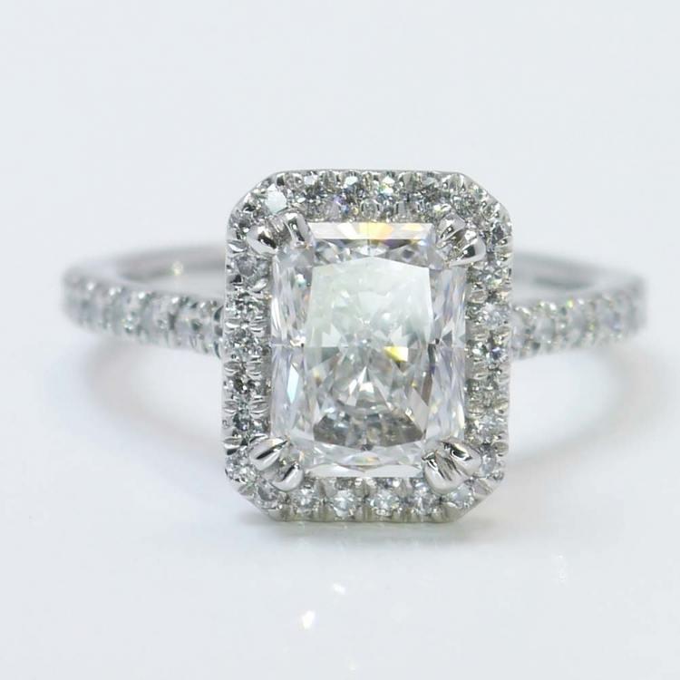 2 Carat Radiant Diamond with Petite Halo Ring