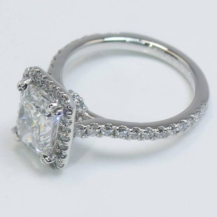 2 Carat Radiant Diamond with Petite Halo Ring angle 3
