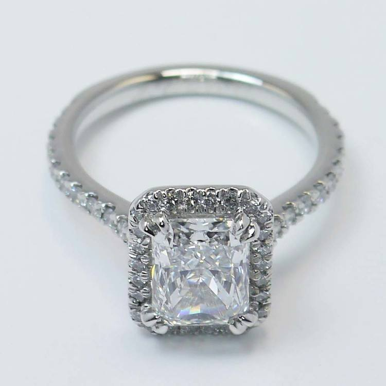 2 Carat Radiant Diamond with Petite Halo Ring angle 4
