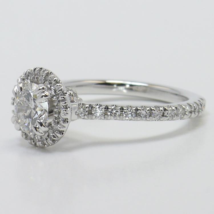 Petite Halo Diamond Engagement Ring angle 2