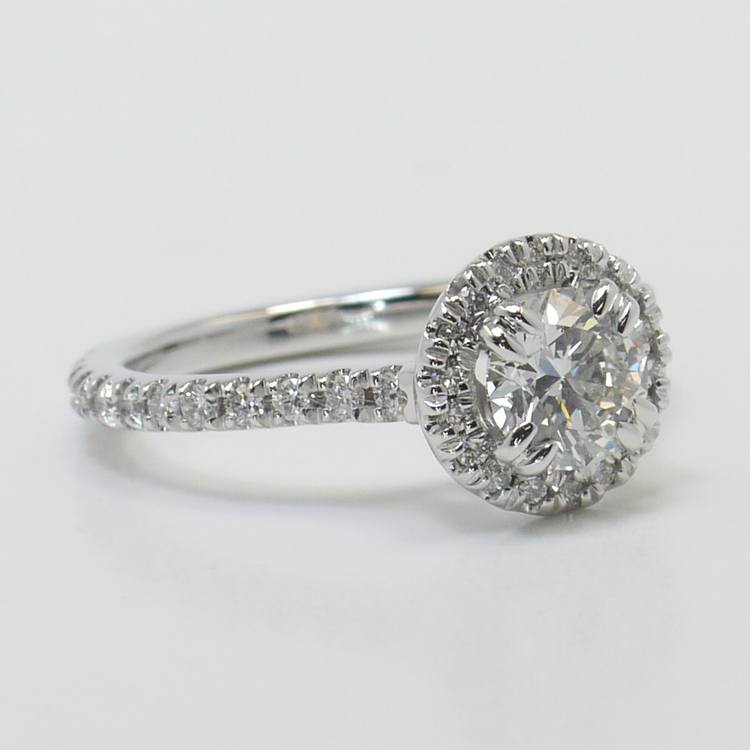 Petite Halo Diamond Engagement Ring angle 3