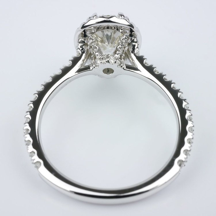 Petite Halo Pear Diamond Engagement Ring angle 4