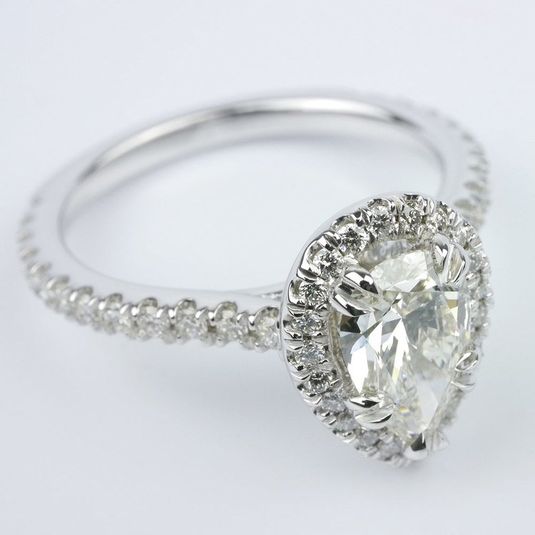Petite Halo Pear Diamond Engagement Ring angle 3