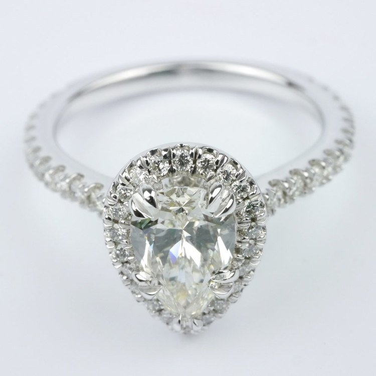 Petite Halo Pear Diamond Engagement Ring