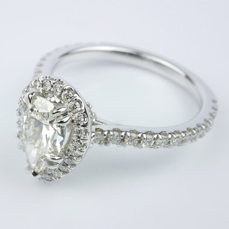 Petite Halo Pear Diamond Engagement Ring angle 2
