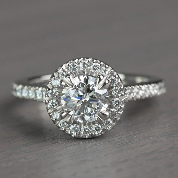 Petite Halo Round 0.82 Carat Diamond Engagement Ring