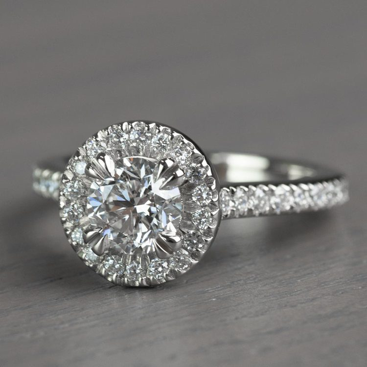 Petite Halo Round 0.82 Carat Diamond Engagement Ring angle 2