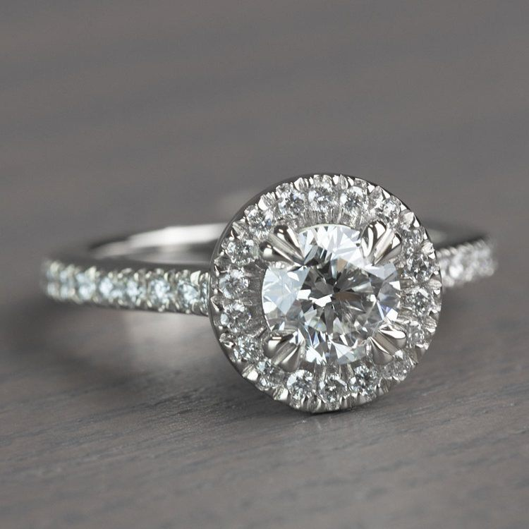 Petite Halo Round 0.82 Carat Diamond Engagement Ring angle 3