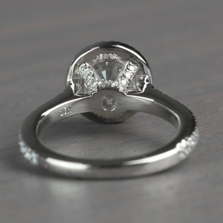 Petite Halo Round 0.82 Carat Diamond Engagement Ring angle 4