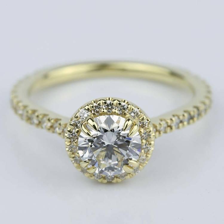 Petite Halo Round Cut Diamond Engagement Ring (0.84 ct.)