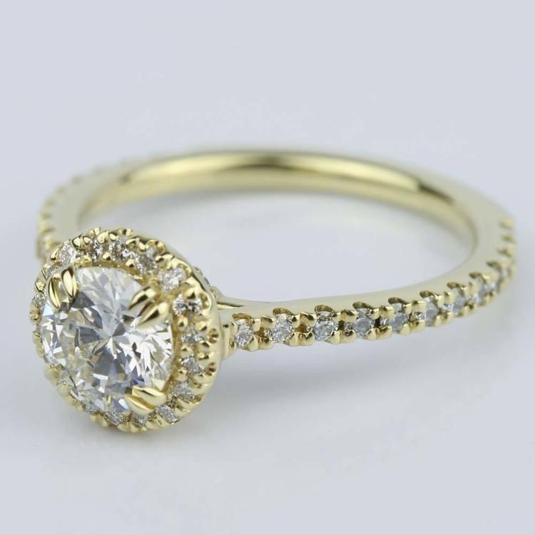 Petite Halo Round Cut Diamond Engagement Ring (0.84 ct.) angle 3