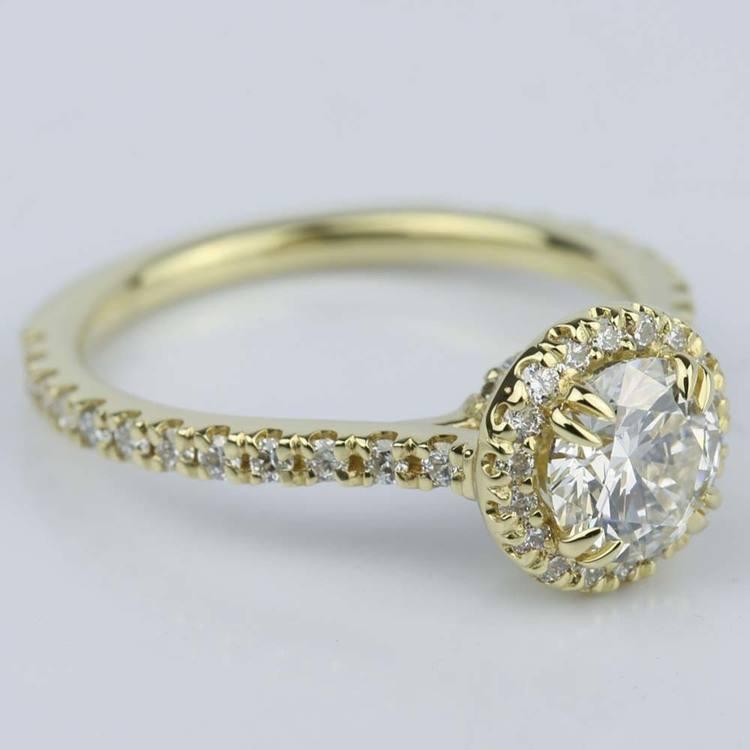 Petite Halo Round Cut Diamond Engagement Ring (0.84 ct.) angle 2