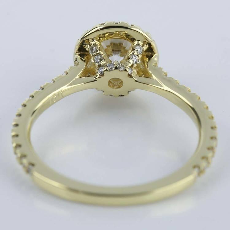 Petite Halo Round Cut Diamond Engagement Ring (0.84 ct.) angle 4