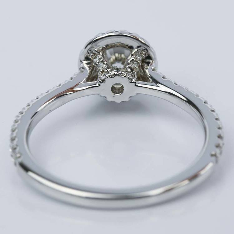 Petite Halo Round Diamond Engagement Ring in White Gold (0.81 ct.) angle 4