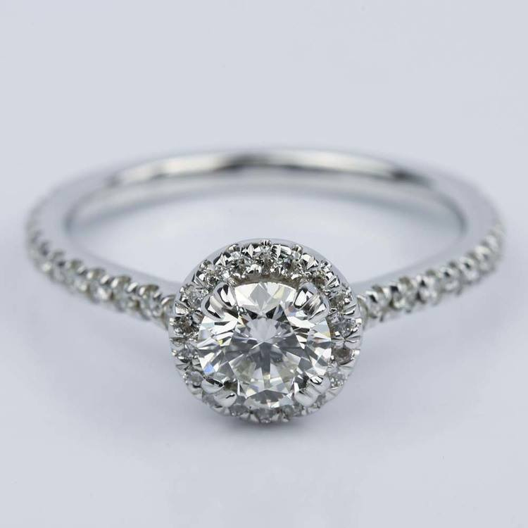 Petite Halo Round Diamond Engagement Ring in White Gold (0.81 ct.)