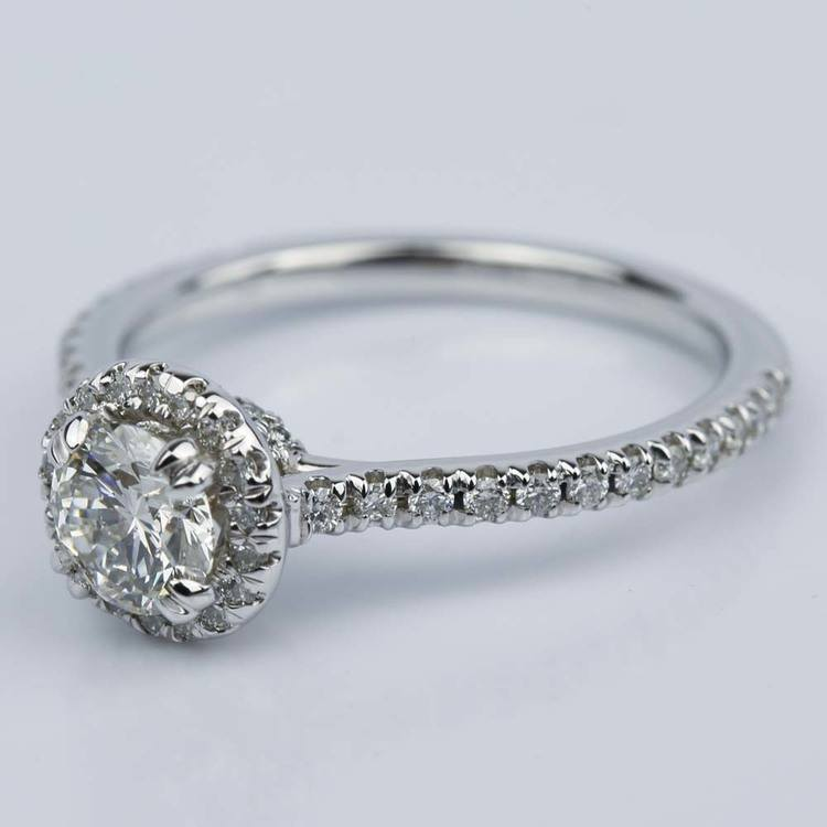Petite Halo Round Diamond Engagement Ring in White Gold (0.81 ct.) angle 2