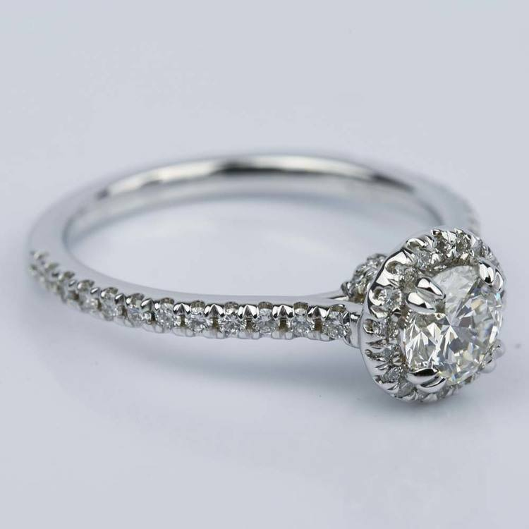 Petite Halo Round Diamond Engagement Ring in White Gold (0.81 ct.) angle 3